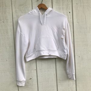 White Hollister Distressed Cropped hoodie